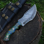 |NB KNIVES| Custom Handmade Damascus Tracker knife With Leather Sheath