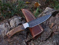 Damascus hunting knife Handle Walnut Wood. Stainless Steel Bolster
