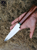 CUSTOM HANDMADE D2 STEEL CHEF KNIFE WITH LEATHER SHEATH