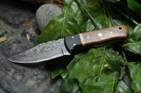 Custom Made Hand Forged Damascus Hunting Knife Handle  HARD WOOD & BUFFALO HORN WITH FIBER BRASS SPACER