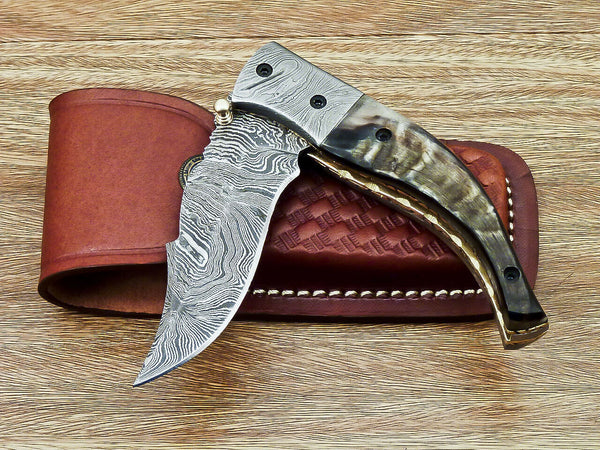 CUSTOM HANDMADE DAMASCUS STEEL FOLDING KNIFE | LINER LOCK