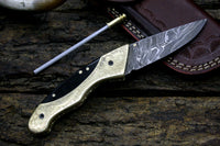 DAMASCUS STEEL HAND ENGRAVED FOLDING KNIFE| LINER LOCK |