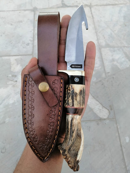 CUSTOM HANDMADE D2 STEEL GUTHOOK KNIFE WITH LEATHER SHEATH