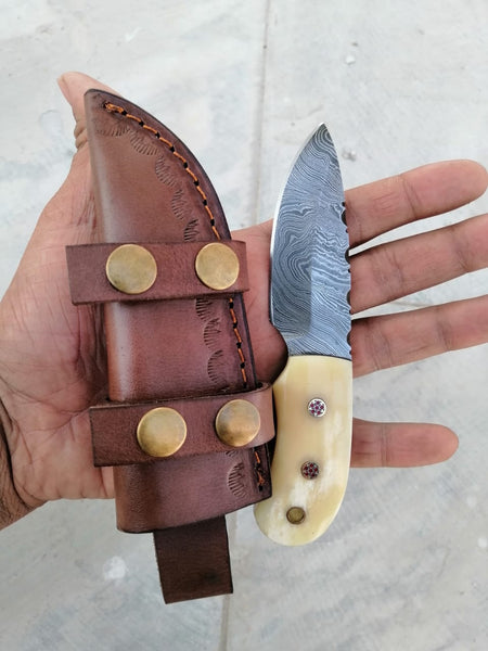 CUSTOM HANDMADE DAMASCUS HUNTING KNIFE HANDLE Made Camel Bone