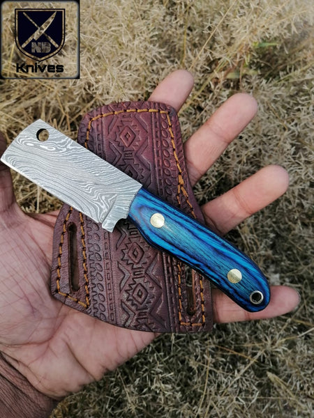 CUSTOM HANDMADE DAMASCUS HUNTING KNIFE HANDLE Dollar Sheath ,Brass Pins