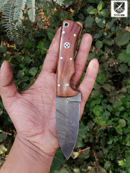 CUSTOM HANDMADE DAMASCUS HUNTING KNIFE HANDLE Rosewood ,Brass Pins