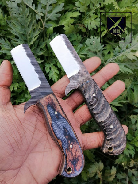 CUSTOM HANDMADE COW BOY BULL CUTTER KNIFE WITH LEATHER SHEATH