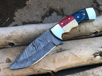 CUSTOM HANDMADE DAMASCUS TEXAS HANDLE HUNTING KNIFE Handle bone, steel bolster and color sheet
