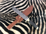 |NB KNIVES| CUSTOM HANDMADE DAMASCUS STEEL HUNTING KNIFE WITH LEATHER SHEATH