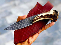 |NB KNIVES| CUSTOM HANDMADE 1095 STEEL STAG HORN KNIFE WITH LEATHER SHEATH