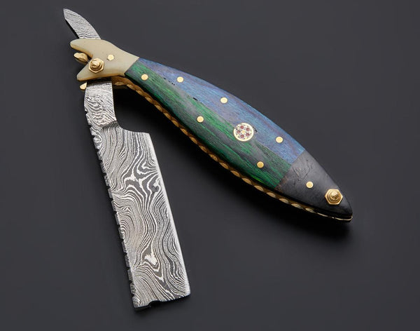 |NB KNIVES| CUSTOM HANDMADE DAMASCUS STRAIGHT RAZOR WITH LEATHER SHEATH