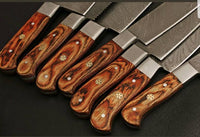 CUTOM HANDMADE DAMASCUS STEEL 7 PIECES CHEF KNIFE SET