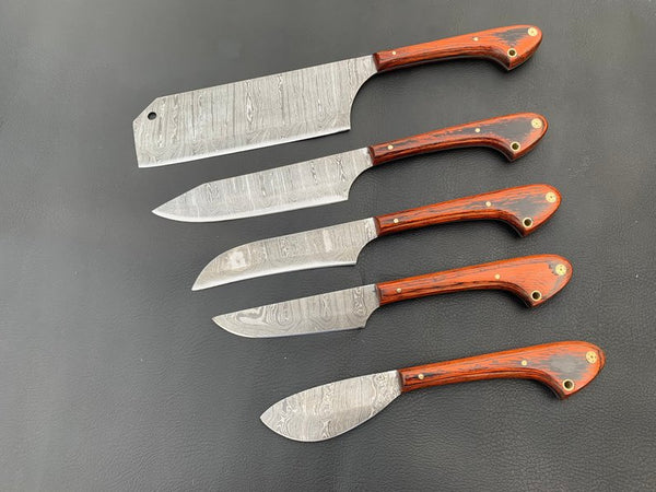 A Beautiful Newly Design Custom Made Damascus Steel Chef Knives Set