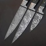 Beautiful Custom Made Forged Damascus Steel Chef knife Kitchen Knife Set with Leather Sheath