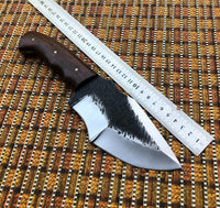 Custom Forged Everyday Carry Bushcraft 1095 Steel Blade Survival Tracker Camp Knife With Leather Pouch