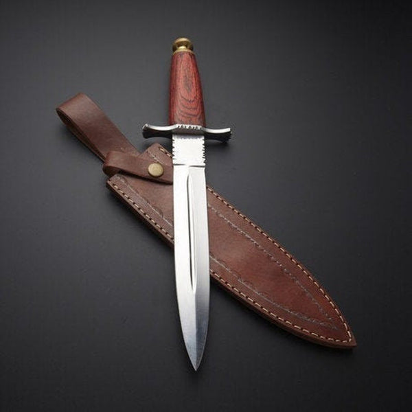|NB KNIVES| CUSTOM HANDMADE D2 STEEL HUNTING KNIFE WITH LEATHER SHEATH