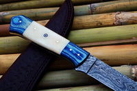 CUSTOM HANDMADE DAMASCUS STEEL FISHING FILLET KNIFE WITH LEATHER SHEATH