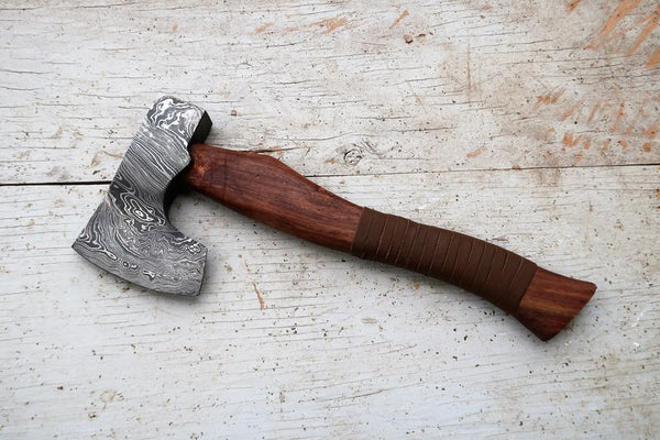 |NB KNIVES| CUSTOM HANDMADE DAMASCUS STEEL AXE WITH LEATHER SHEATH