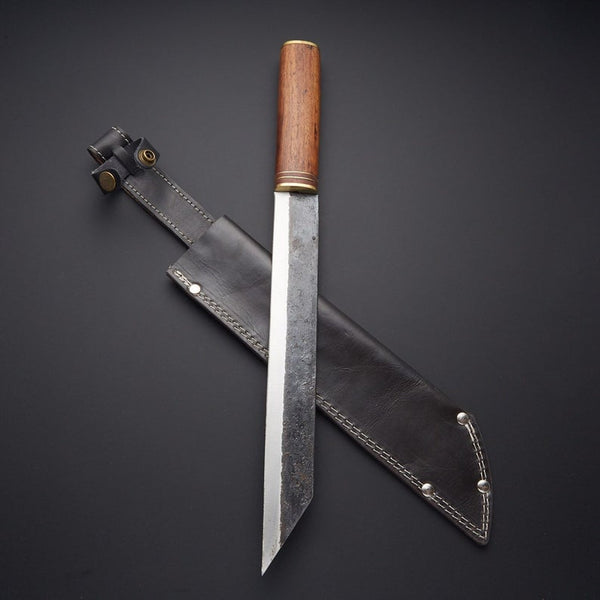|NB KNIVES| Handmade High Carbon Steel With Walnut Wood Handle with Leather Sheath Viking Knife