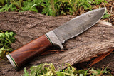 CUSTOM HANDMADE DAMASCUS STEEL HUNTING KNIFE WITH ROOS WOOD HANDLE