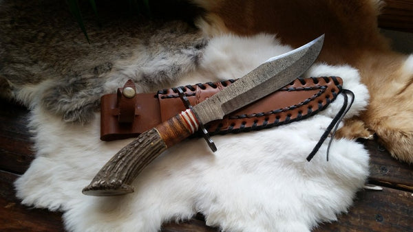 "Damascus Steel Knife, Large Dependable Bowie Blade, 13 3/4"" Long 8 1/4"" Blade, Crown Stag Handle, Hand Forged"