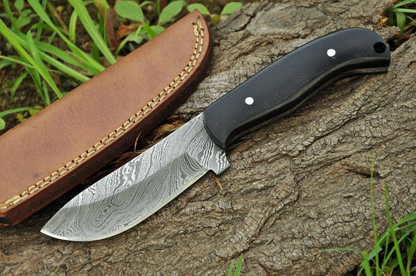 |NB KNIVES| CUSTOM HANDMADE DAMASCUS HUNTING KNIFE Handle Hard wood Pakka wood