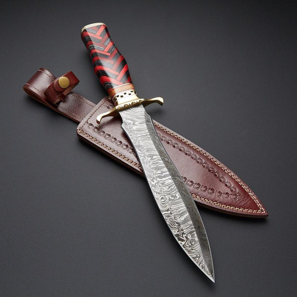 |NB KNIVES| CUSTM HANDMADE DAMASCUS STEEL HUNTING DAGGER KNIFE WITH LEATHER SHEATH