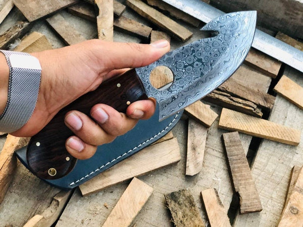 |NB KNIVES| CUSTOM HANDMADE DAMASCUS GUTHOOK HUNTING KNIFE Handle Rose Wood