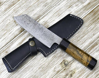 |NB KNIVES| CUSTOM HANDMADE DAMASCUS CHEF KNIFE WITH LEATHER SHEATH