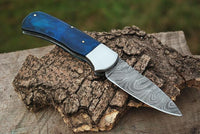 |NB KNIVES| CUSTOM HANDMADE DAMASCUS STEEL POCKET KNIFE WITH LEATHER SHEATH