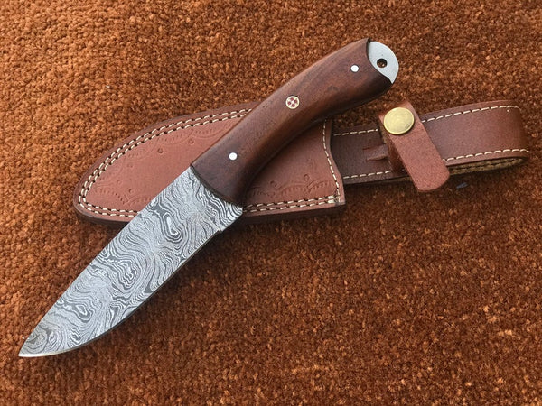 |NB KNIVES| CUSTOM HANDMADE DAMASCUS HUNTING KNIFE HANDLE ROSEWOOD
