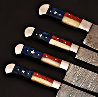 |NB KNIVES| CUSTOM HANDMADE DAMASCUS STEEL 4 PCS TEXAS HANDLE CHEF SET WITH LEATHER ROLL KIT
