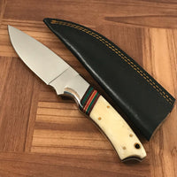 CUSTOM HANDMADE DAMASCUS STEEL HUNTING KNIFE HANDLE BONE