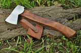 |NB KNIVES| CUSTOM HANDMADE HIGH CARBON STEEL AXE WITH LEATHER SHEATH