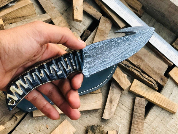 CUSTOM HANDMADE DAMASCUS GUTHOOK HUNTING KNIFE HANDLE MICARTA