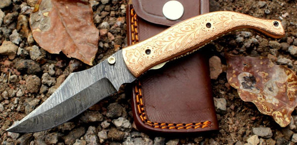 Damascus knife Custom Hand Made / Copper handle / Liner Lock