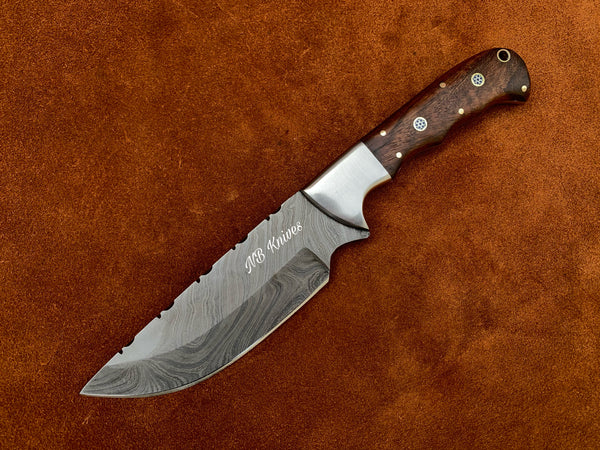 |NB KNIVES| CUSTOM HANDMADE DAMASCUS STEEL SKINNER KNIFE HANDLE ROSEWOOD