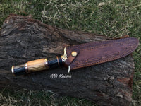|NB KNIVES| DAMASCUS STEEL BLADE HUNTING BOWIE KNIFE,WOOD HANDLE