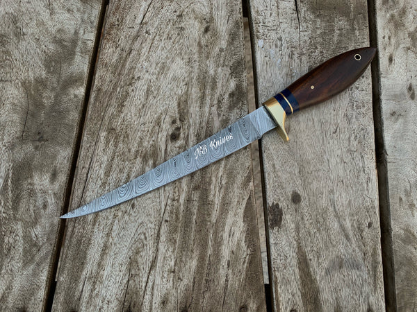 |NB KNIVES | CUSTOM HANDMADE DAMASCUS STEEL FILLET KNIFE WITH LEATHER SHEATH