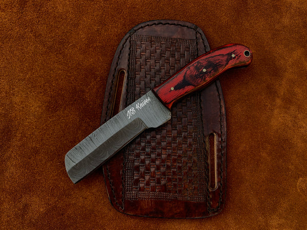 |NB KNIVES| CUSTOM HANDMADE DAMASCUS COWBOY BULL CUTTER KNIFE WITH LEATHER SHEATH
