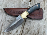 |NB KNIVES| Custom Handmade Damascus Skinner Knife Handle Buffalo Horn