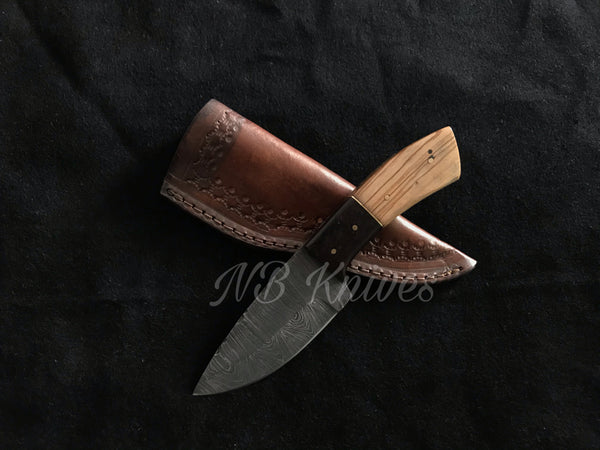 |NB KNIVES| Custom Handmade Damascus Hunting Knife Handle Olive Wood