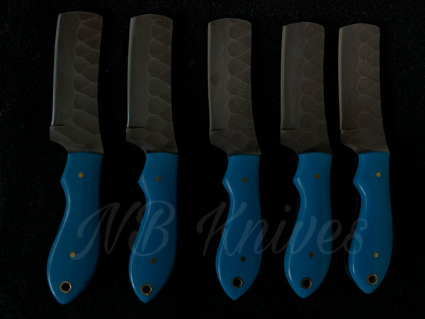 |NB KNIVES| CUSTOM HANDMADE LOT OF 5 COW BOY BULL CUTTER KNIVES WITH LEATHER SHEATH