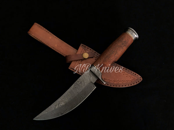 |NB KNIVES| CUSTOM HANDMADE DAMASCUS HUNTING KNIFE WITH LEATHER SHEATH
