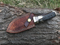 |NB KNIVES| CUSTOM HANDMADE DAMASCUS STAG HORN GUTHOOK KNIFE WITH LEATHER SHEATH