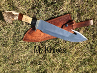 CUSTOM HANDMADE D2 STEEL STAG HORN HUNTING KNIFE WITH LEATHER SHEATH