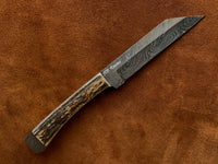 |NB KNIVES| CUSTOM HANDMADE DAMASCUS STAG HORN HUNTING KNIFE WITH LEATHER SHEATH