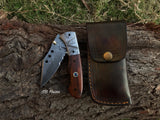 |NB KNIVES| CUSTOM HANDMADE DAMASCUS FOLDING KNIFE WITH POCKET CLIP