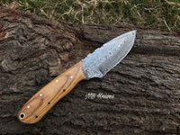 |NB KNIVES| CUSTOM HANDMADE DAMASCUS STEEL HUNTING KNIFE Handle Material Olive Wood Handle