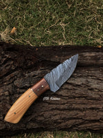 "|NB KNIVES| CUSTOM HAND FORGED DAMASCUS STEEL HUNTING KNIFE ""OLIVE WOOD"""